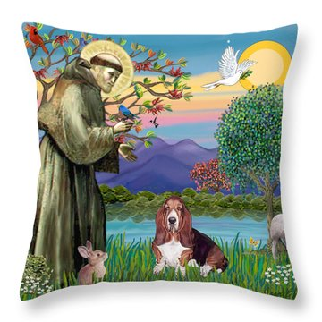 Saint Francis Blesses A Basset Hound Throw Pillow by Jean Fitzgerald