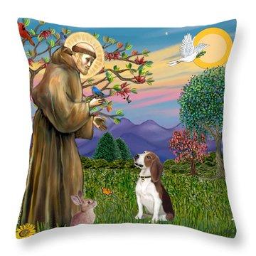 Saint Francis Blesses A Beagle Throw Pillow
