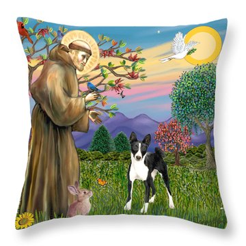 Saint Francis Blesses A Black And White Basenji Throw Pillow by Jean Fitzgerald