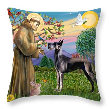 Saint Francis Blesses A Black Great Dane Throw Pillow by Jean Fitzgerald