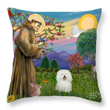 Saint Francis Blesses A Bolognese Throw Pillow