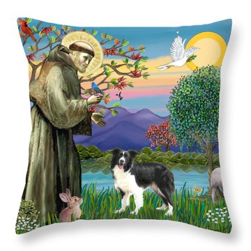 Saint Francis Blesses A Border Collie Throw Pillow by Jean Fitzgerald