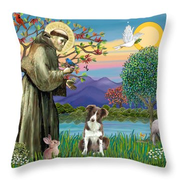 Saint Francis Blesses A Brown And White Border Collie Throw Pillow