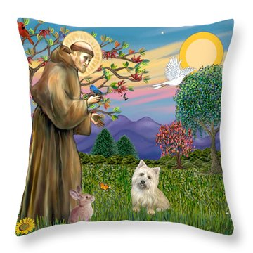 Saint Francis Blesses A Cairn Terrier Throw Pillow