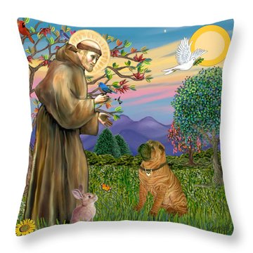 Saint Francis Blesses A Chinese Shar Pei Throw Pillow by Jean Fitzgerald