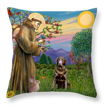 Saint Francis Blesses A Chocolate Labrador Retriever Throw Pillow by Jean Fitzgerald