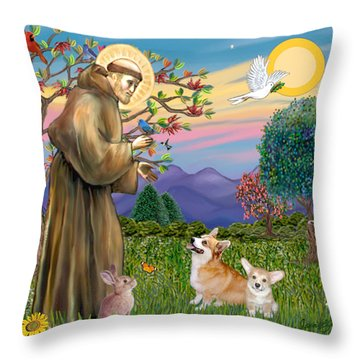 Saint Francis Blesses A Corgi And Her Pup Throw Pillow by Jean Fitzgerald