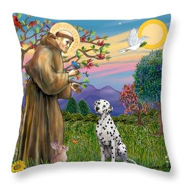 Saint Francis Blesses A Dalmatian Throw Pillow