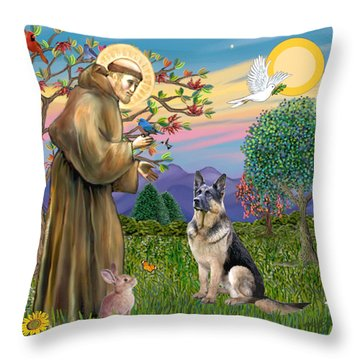Saint Francis Blesses A German Shepherd Throw Pillow by Jean Fitzgerald