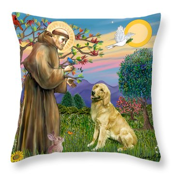 Saint Francis Blesses A Golden Retriever Throw Pillow by Jean Fitzgerald
