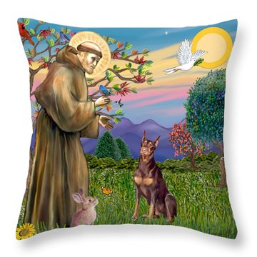 Saint Francis Blesses A Red Doberman Throw Pillow by Jean Fitzgerald