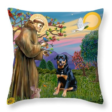 Saint Francis Blesses A Rottweiler Throw Pillow by Jean Fitzgerald