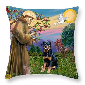 Saint Francis Blesses A Rottweiler Throw Pillow