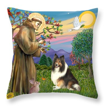 Saint Francis Blesses A Sable And White Collie Throw Pillow by Jean Fitzgerald