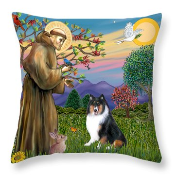 Saint Francis Blesses A Tri Color Collie Throw Pillow by Jean B Fitzgerald