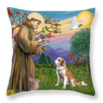 Saint Francis Blesses A Welsh Springer Spaniel Throw Pillow by Jean Fitzgerald