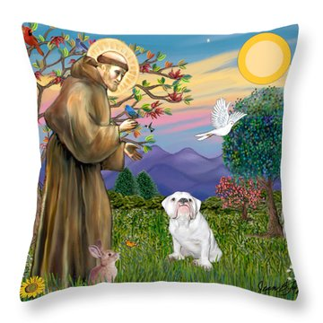 Saint Francis Blesses An English Bulldog Throw Pillow by Jean Fitzgerald
