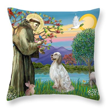 Saint Francis Blesses An English Setter Throw Pillow by Jean B Fitzgerald