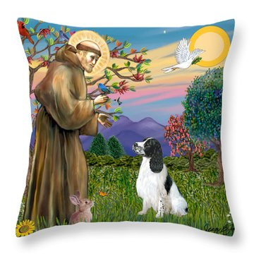 Saint Francis Blesses An English Springer Spaniel Throw Pillow by Jean Fitzgerald