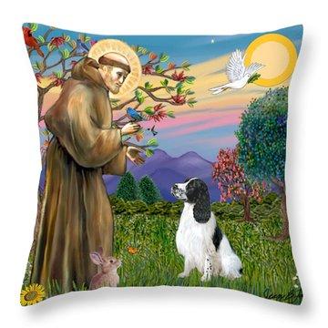 Saint Francis Blesses An English Springer Spaniel Throw Pillow