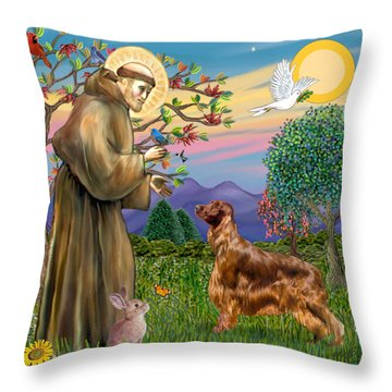 Saint Francis Blesses An Irish Setter Throw Pillow by Jean Fitzgerald