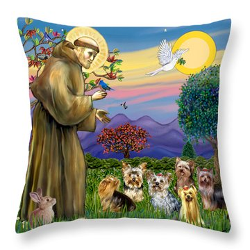 Saint Francis Blesses Seven Yorkies Throw Pillow by Jean Fitzgerald