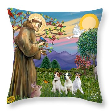 Saint Francis Blesses Three Jack Russell Terriers Throw Pillow by Jean Fitzgerald
