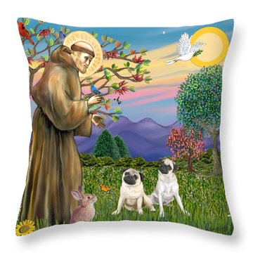 Saint Francis Blesses Two Fawn Pugs Throw Pillow by Jean Fitzgerald