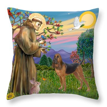 Saint Francis Blessing A Bloodhound Throw Pillow by Jean Fitzgerald