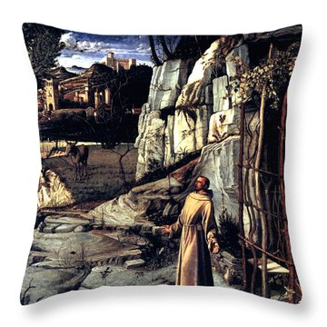 Throw Pillow featuring the painting Saint Francis In Ecstasy 1485 Giovanni Bellini by Karon Melillo DeVega