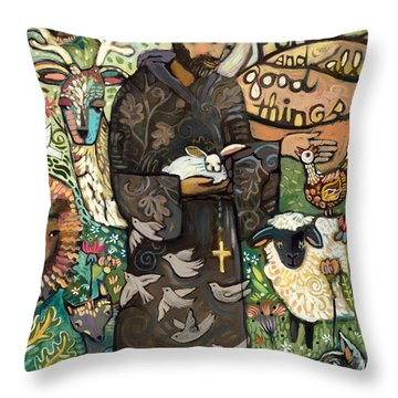 Saint Francis Throw Pillow by Jen Norton