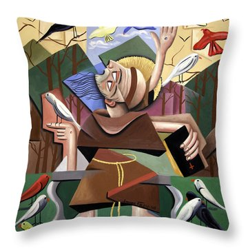 Saint Francis Sermon To The Birds Throw Pillow by Anthony Falbo
