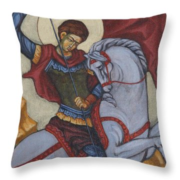 Saint George Agios Georgios Throw Pillow by Sonya Grigorova