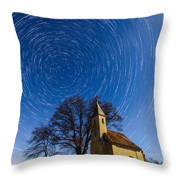 Saint Heleina Chapel With Star Trail Hungary Throw Pillow by Gabor Pozsgai