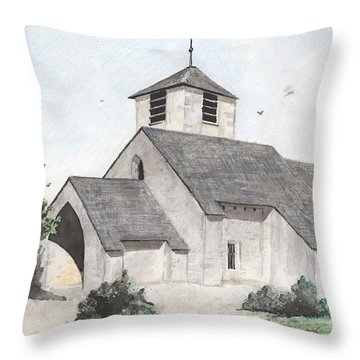Throw Pillow featuring the painting Saint-jean-baptiste A Chassignelles by Marc Philippe Joly