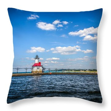 Saint Joseph Lighthouse And Pier Picture Throw Pillow by Paul Velgos