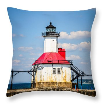 Saint Joseph Lighthouse Picture Throw Pillow by Paul Velgos
