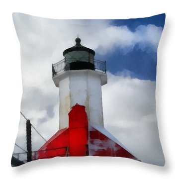 Saint Joseph Michigan Lighthouse Throw Pillow by Dan Sproul