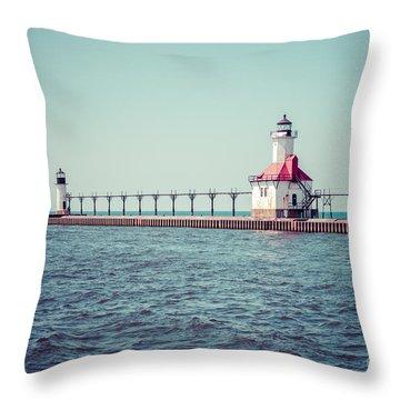 Saint Joseph Michigan Lighthouse Retro Picture  Throw Pillow by Paul Velgos