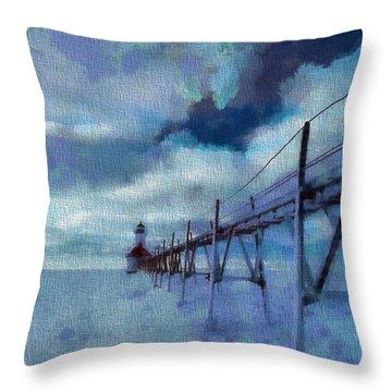 Saint Joseph Pier Lighthouse In Winter Throw Pillow by Dan Sproul