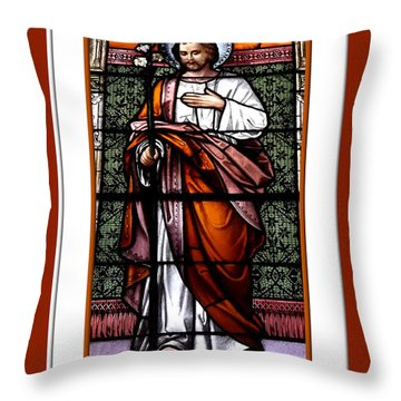 Throw Pillow featuring the photograph Saint Joseph  Stained Glass Window by Rose Santuci-Sofranko