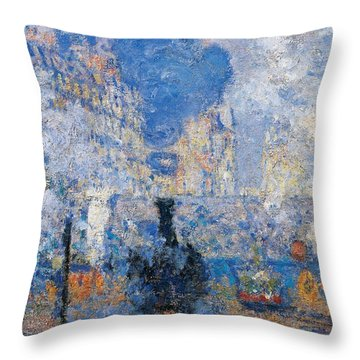 Saint Lazare Station Throw Pillow by Claude Monet
