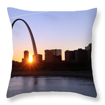 Saint Louis Arch Sunset Throw Pillow by David Yunker