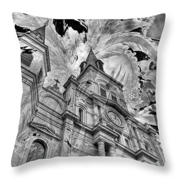 Throw Pillow featuring the photograph Saint Louis Cathedral And Spirits by Ron White