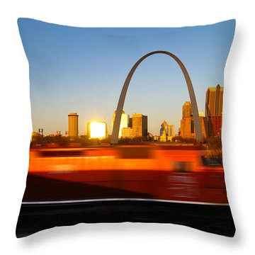 Saint Louis Morning Train Throw Pillow by David Yunker