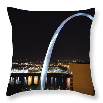 Saint Louis Skyline And Jefferson Expansion Arch Throw Pillow by Jeff at JSJ Photography
