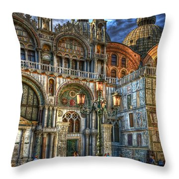 Throw Pillow featuring the photograph Saint Marks Square by Jerry Fornarotto