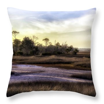 Saint Marks Wetland Sunset Throw Pillow by Lynn Palmer