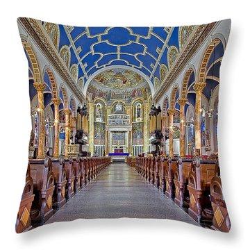 Saint Michael Catholic Church Throw Pillow by Susan Candelario