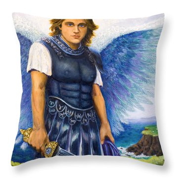 Saint Michael The Archangel Throw Pillow by Patty Kay Hall